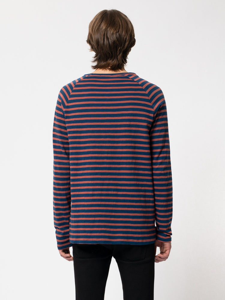 Nudie - Otto Breton Stripe Top in Blue/Dusty Red