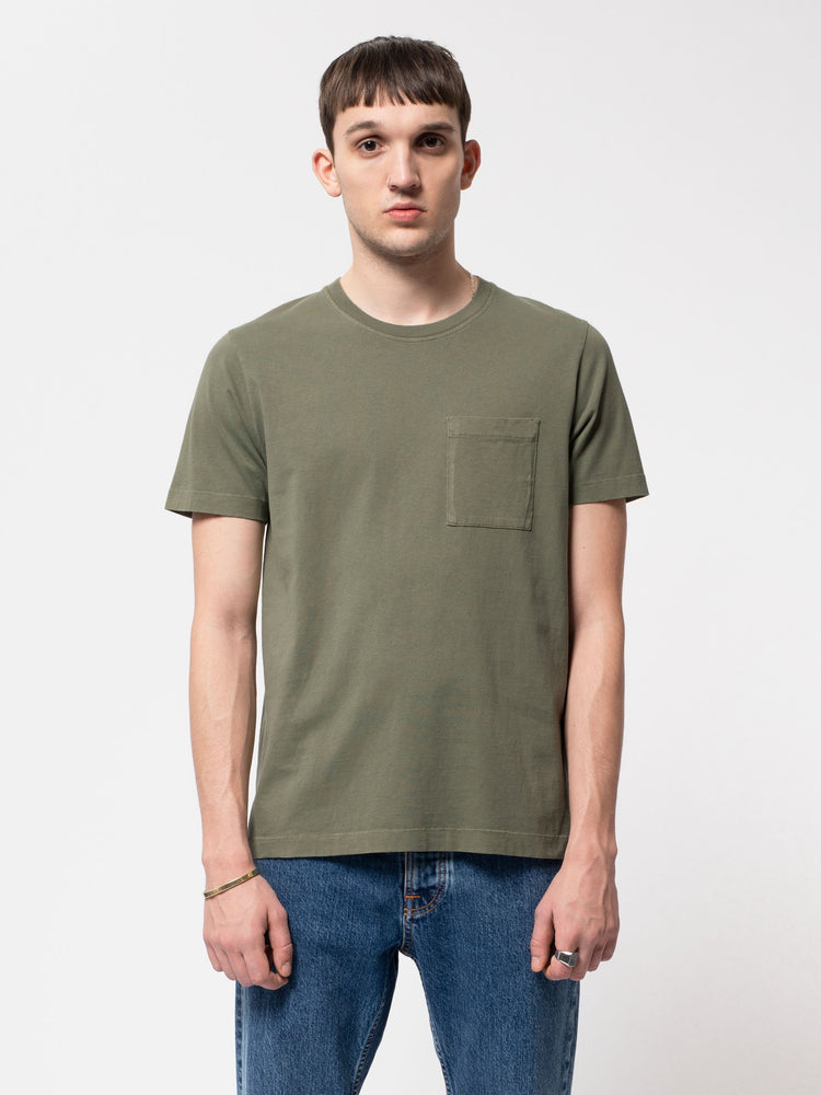 Nudie - Roy One Pocket Tee in Black and Green