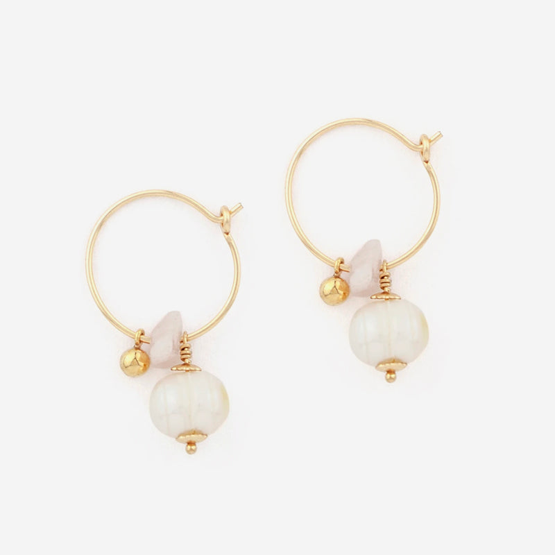 Petite Grand - Lilybelle Hoops in Gold/Pearl