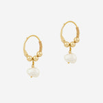 Petite Grand - Little Pearl Hoops in Gold