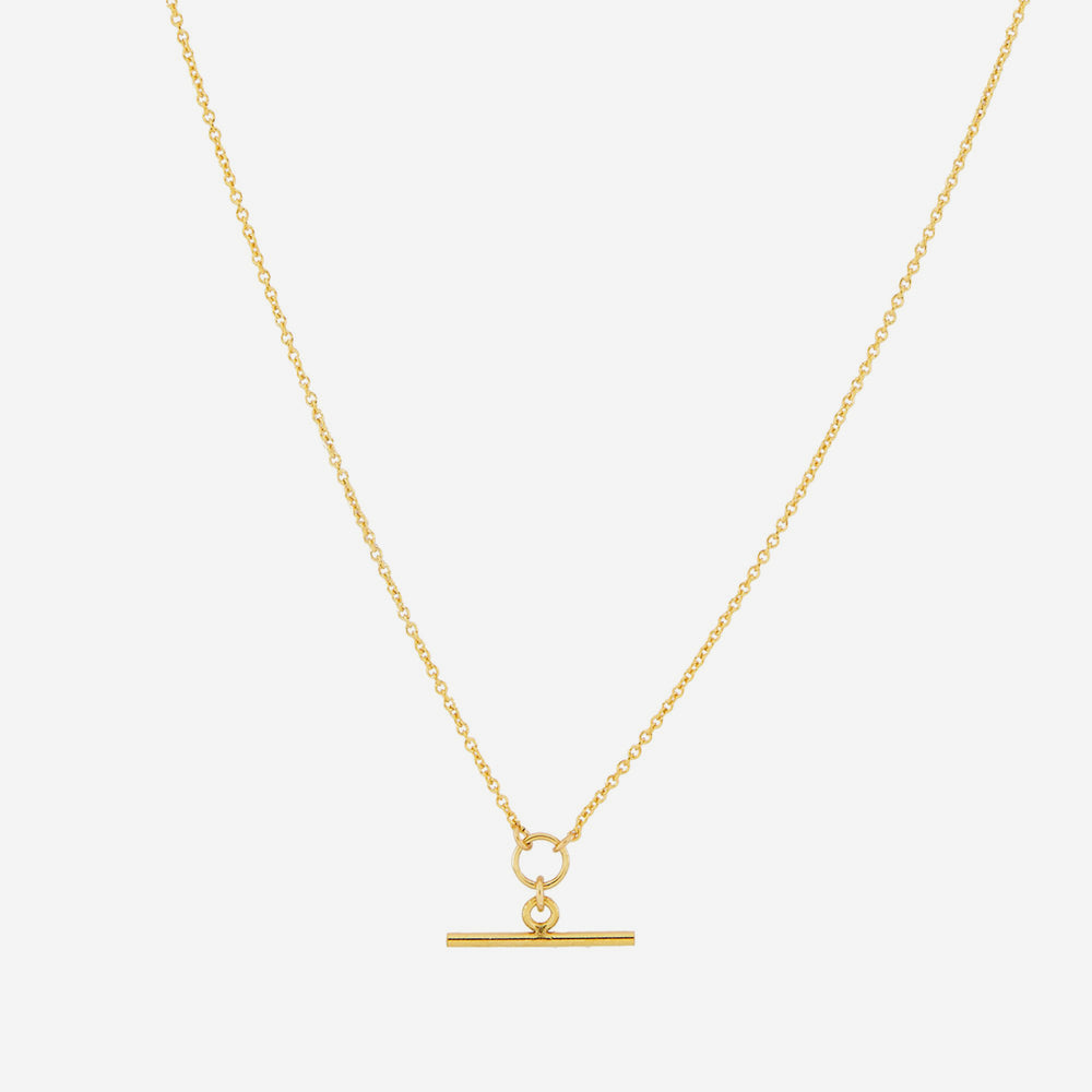 Petite Grand - Small T Bar Necklace in Gold