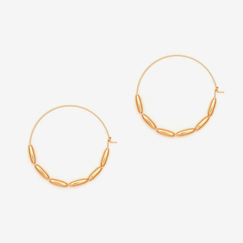 Petite Grand - Large Bead Hoops, Gold, J23G