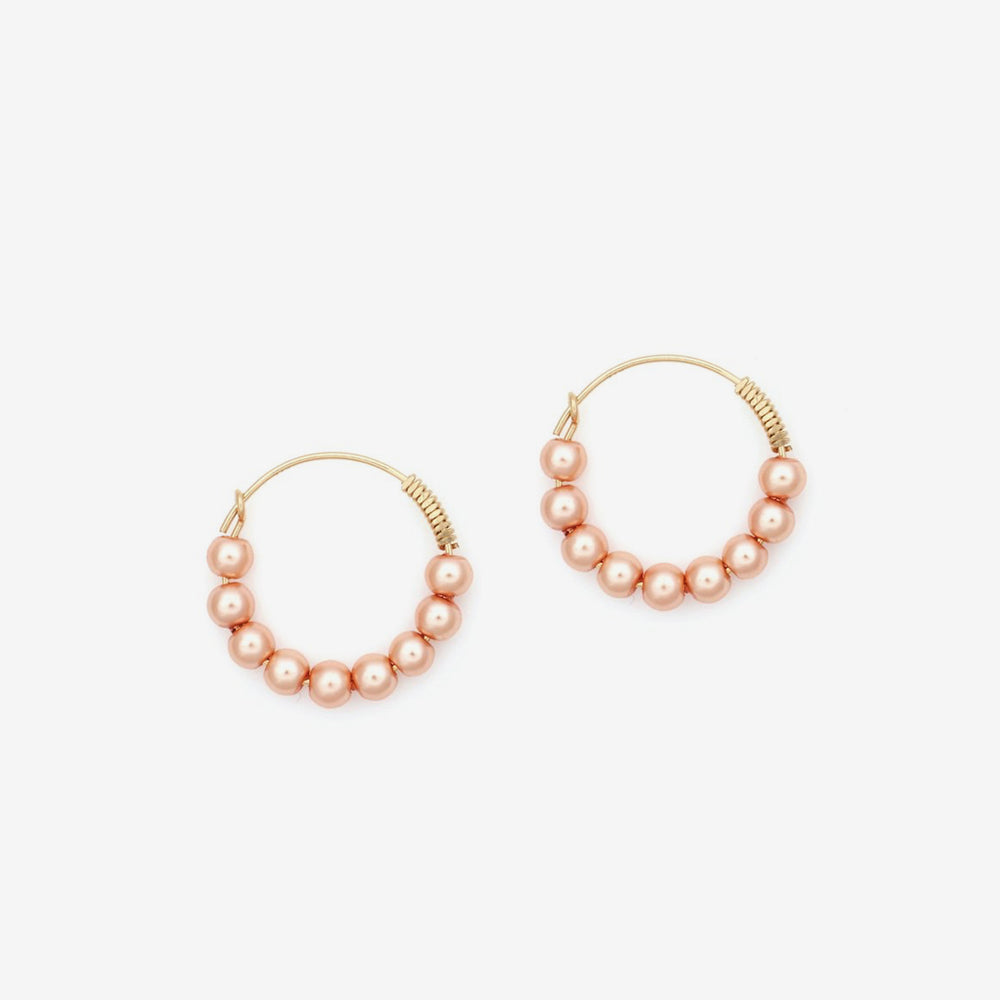 Petite Grand - Pearl Hoops, Peach, Gold