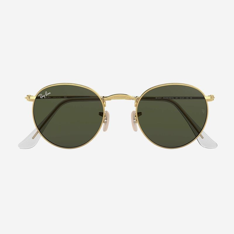 Ray-Ban - Round Metal Sunglasses in Arista Gold w/ Green Classic G-15 Green Lens. 0RB3447-001