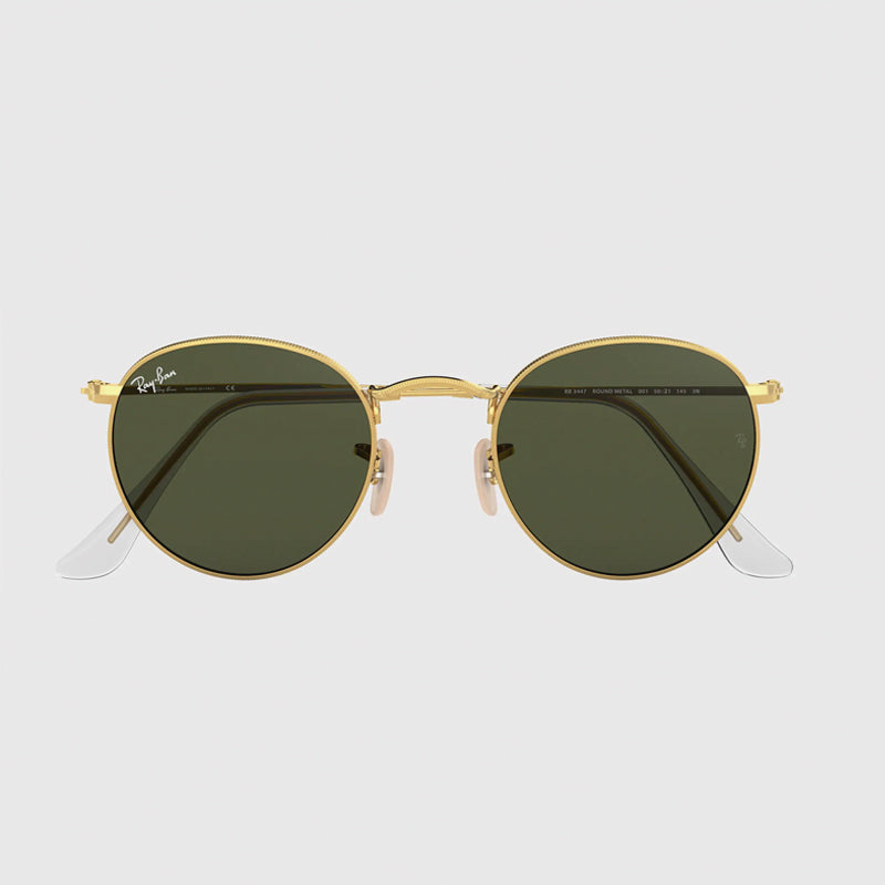 Ray-Ban - Round Metal Sunglasses in Arista Gold w/ Polarized Green Classic G-15 lens. 0RB3447-001/5850