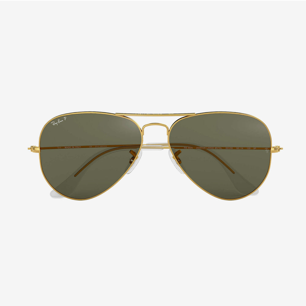 Ray-Ban - Aviator Sunglasses - Large Metal Gold w/ Crystal Green Polarized Lens. 0RB3025/001/5858