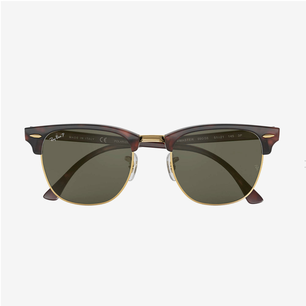 Ray-Ban - Clubmaster Sunglasses in Red Havana w/Polarized Green Classic G-15 Lens. 0RB3016-990/58-51