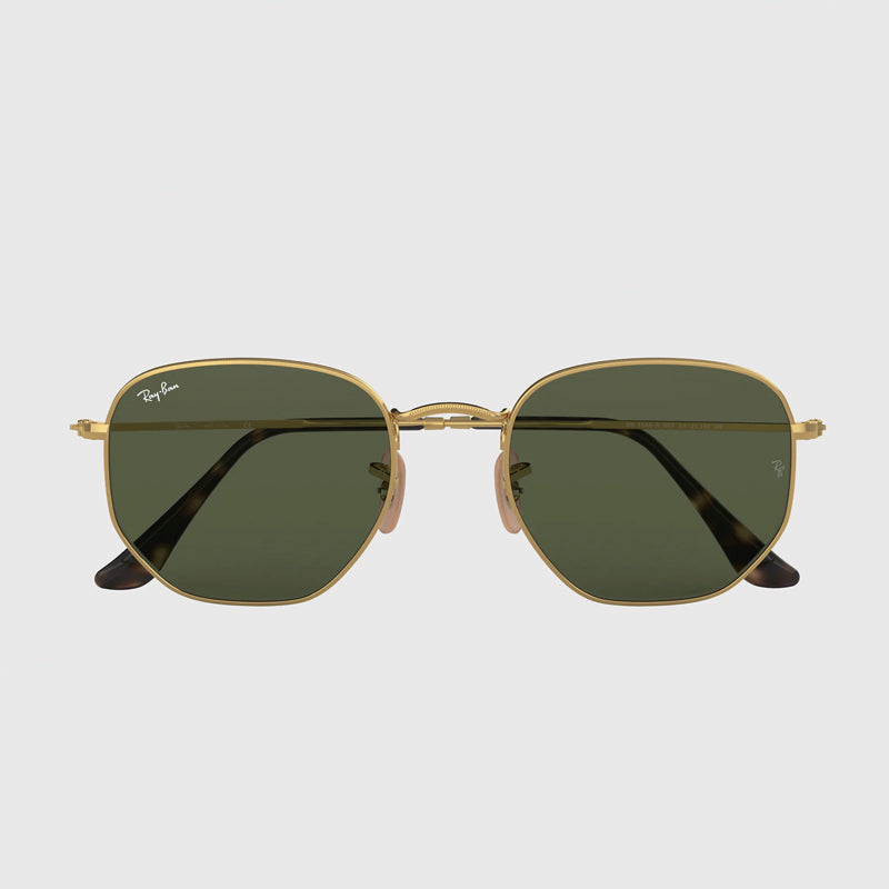 Ray Ban - Hexagonal in Arista Gold w/ Polarized Green Classic G-15 Lens. 0RB3548N-001/5851