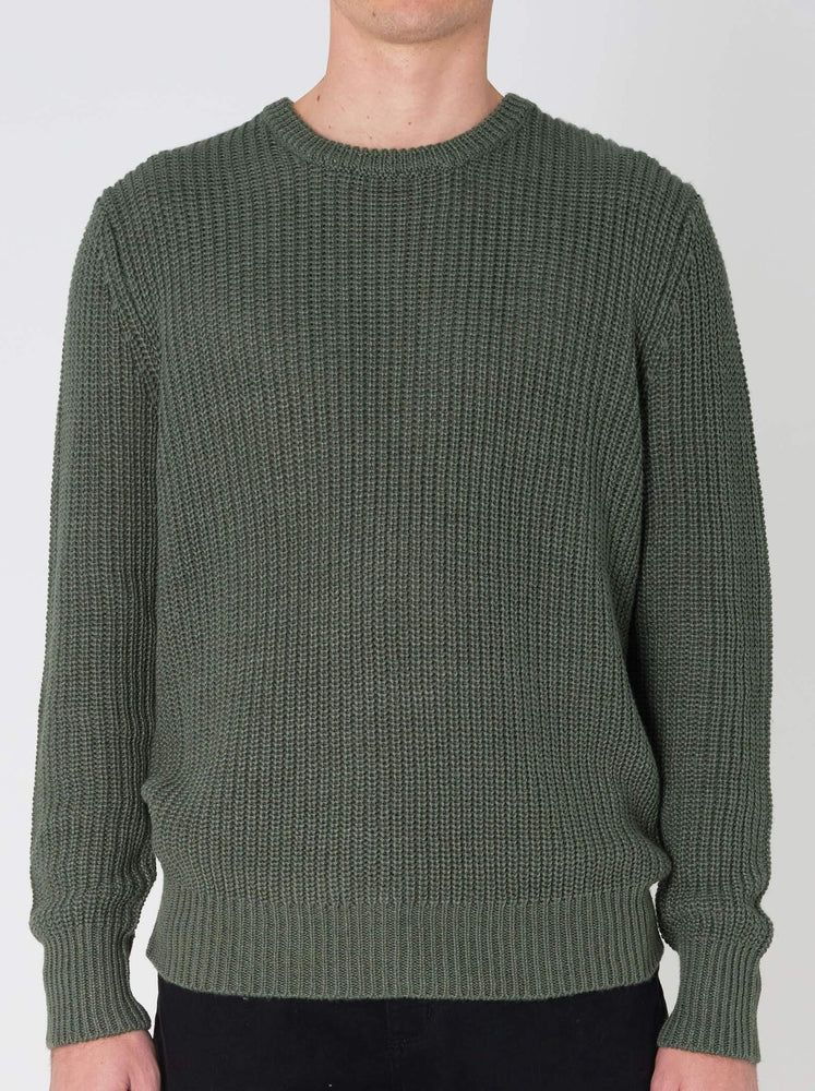 Rollas - Hemp Blend Crew Knit in Green