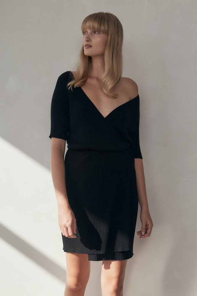 St Agni - Anais Wrap Knit Dress in Black