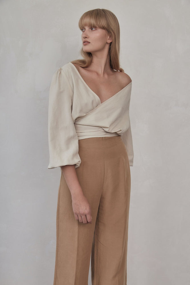 St. Agni - Delphine Wrap Top in Ivory