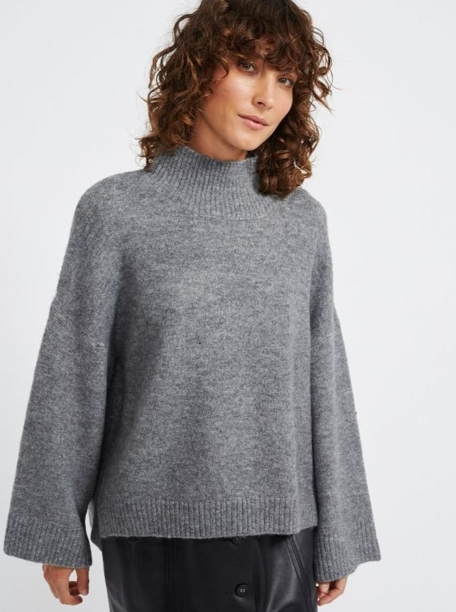 Staple - Shadow Oversize Jumper - Charcoal Marle