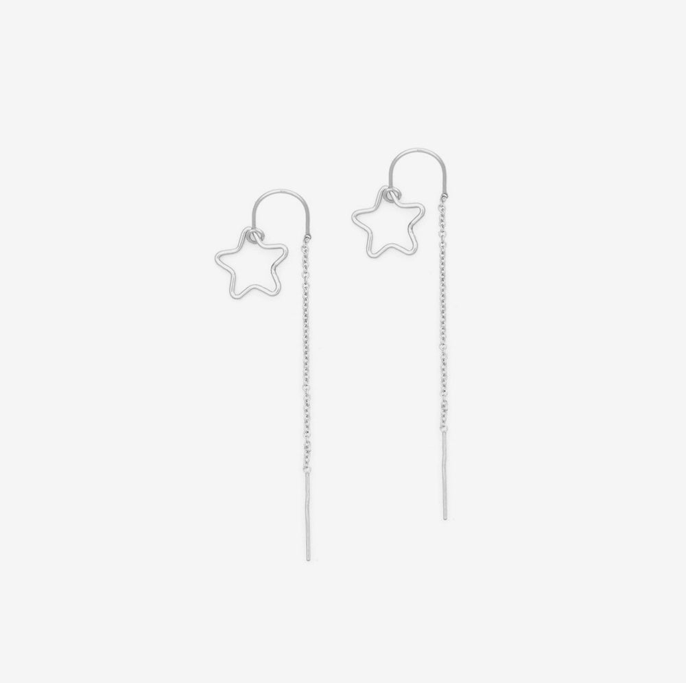 Petite Grand - Star Thread Through Earrings, Silver