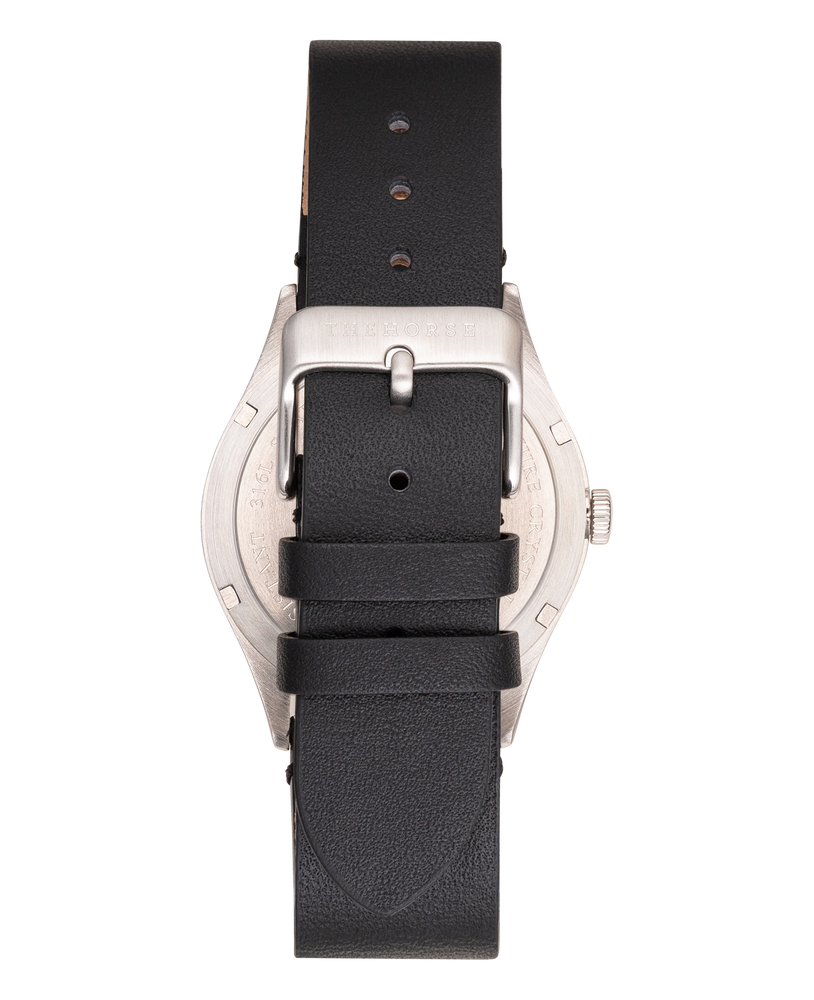 The Horse - The Captain Watch In Brushed Stainless Steel / Beige Dial / Black Leather Strap