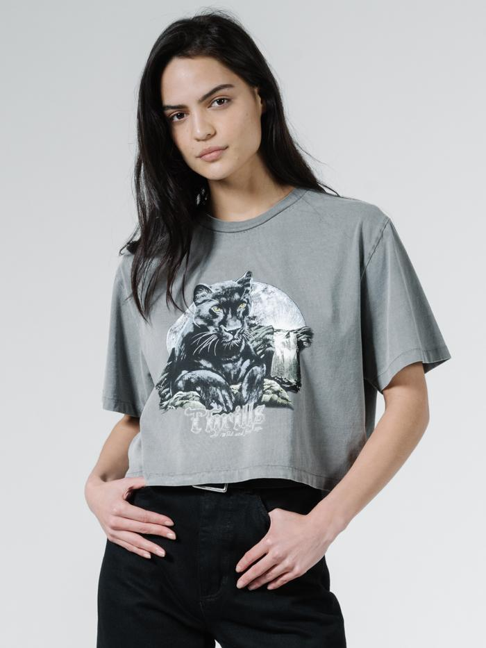 Thrills - Blackmoon Merch Fit Crop Tee - Washed Grey
