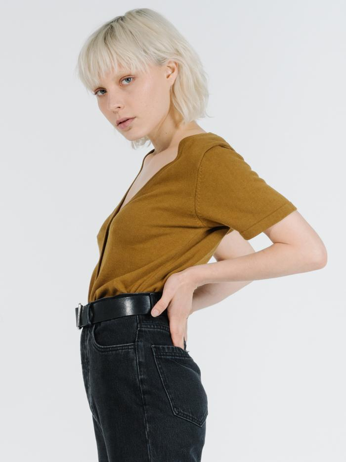 Thrills - Illuka Knit Top in Golden Brown