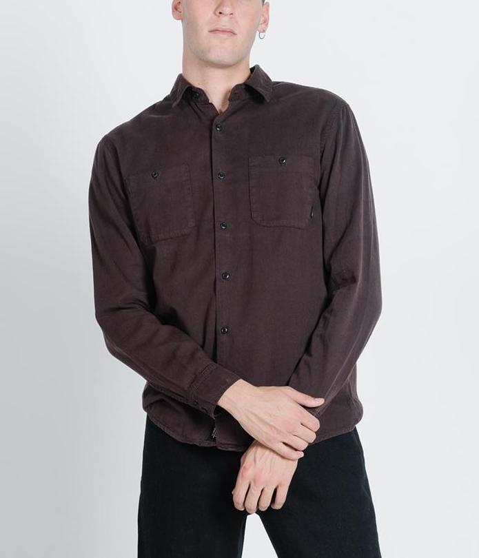 Thrills - Pocket Canyon Longsleeve Shirt in Postal Brown