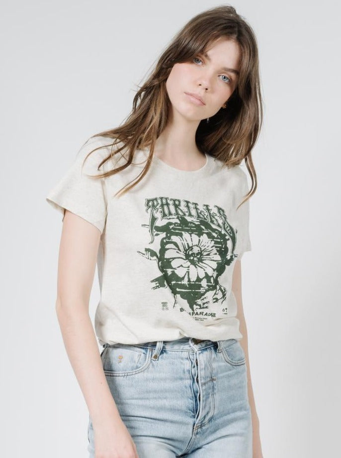 Thrills - Psychflower Band Tee in Unbleached