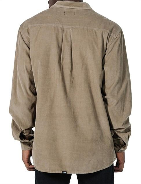 Thrills - Stranded Cord Long Sleeve Shirt in Wolf