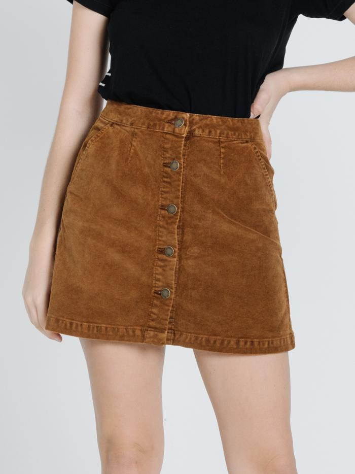 Thrills - Sueded Tahli Skirt in Mustang Brown