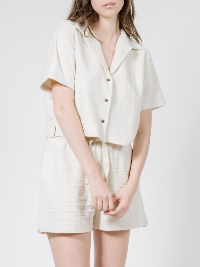 Thrills - Terry Crop Shirt in Unbleached