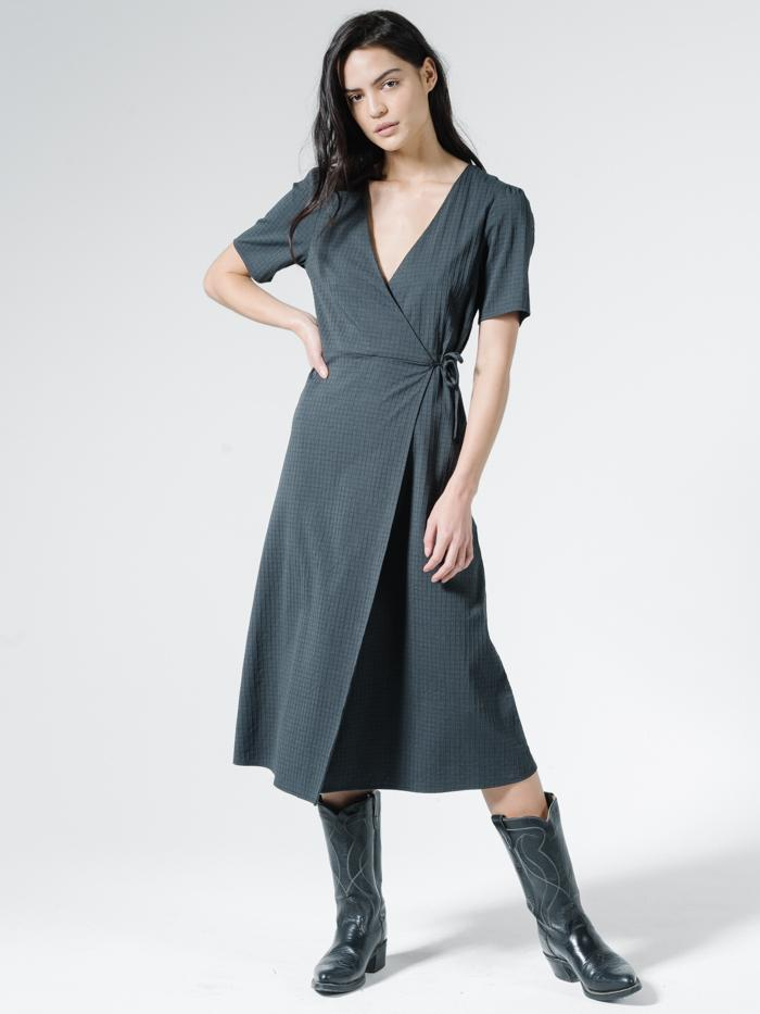 Thrills - Windowpane Diana Dress - Washed Black