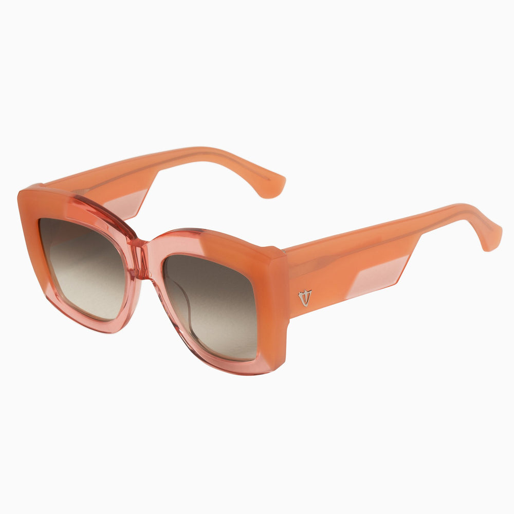 Valley - Coltrane Sunglasses in Transparent Pink/ Gold Metal Trim/ Brown Lens