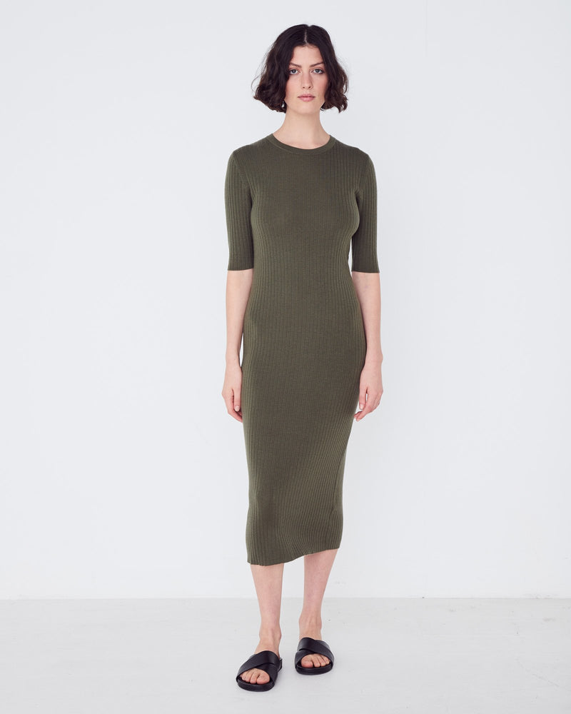 Assembly - Ella Midi dress in Thyme