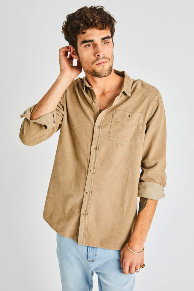 Rollas - Men at Work Cord Shirt in Camel
