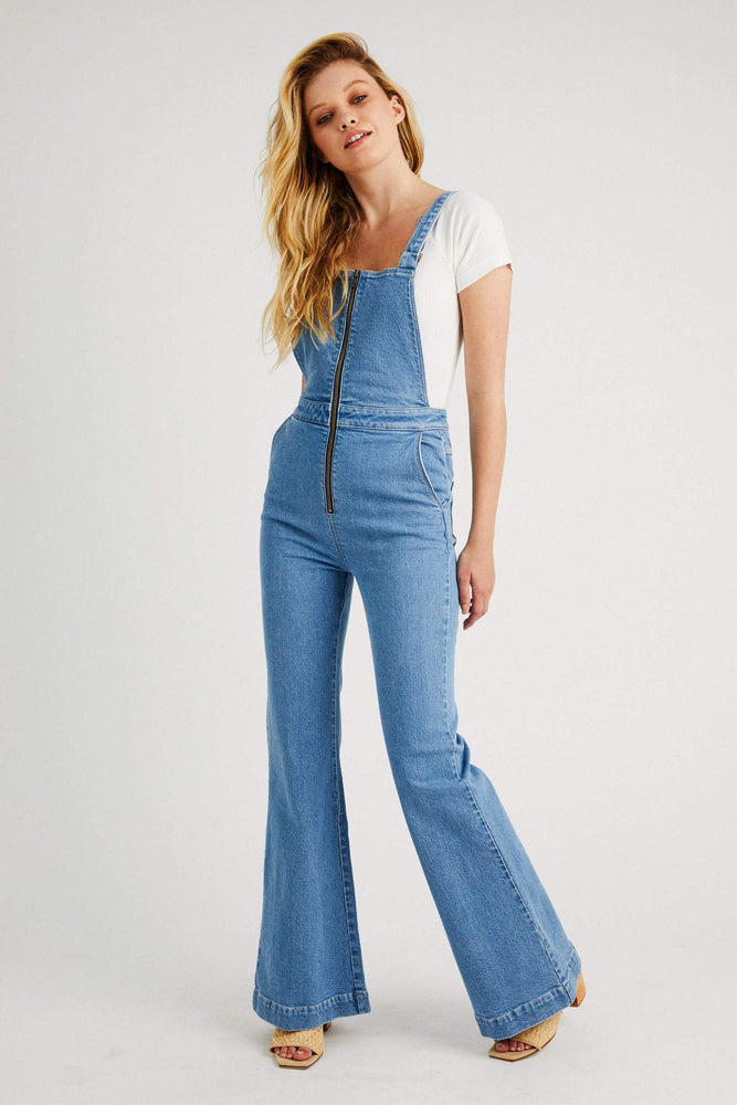 Rolla's - Eastcoast Flare Overall in Lilah Blue Organic