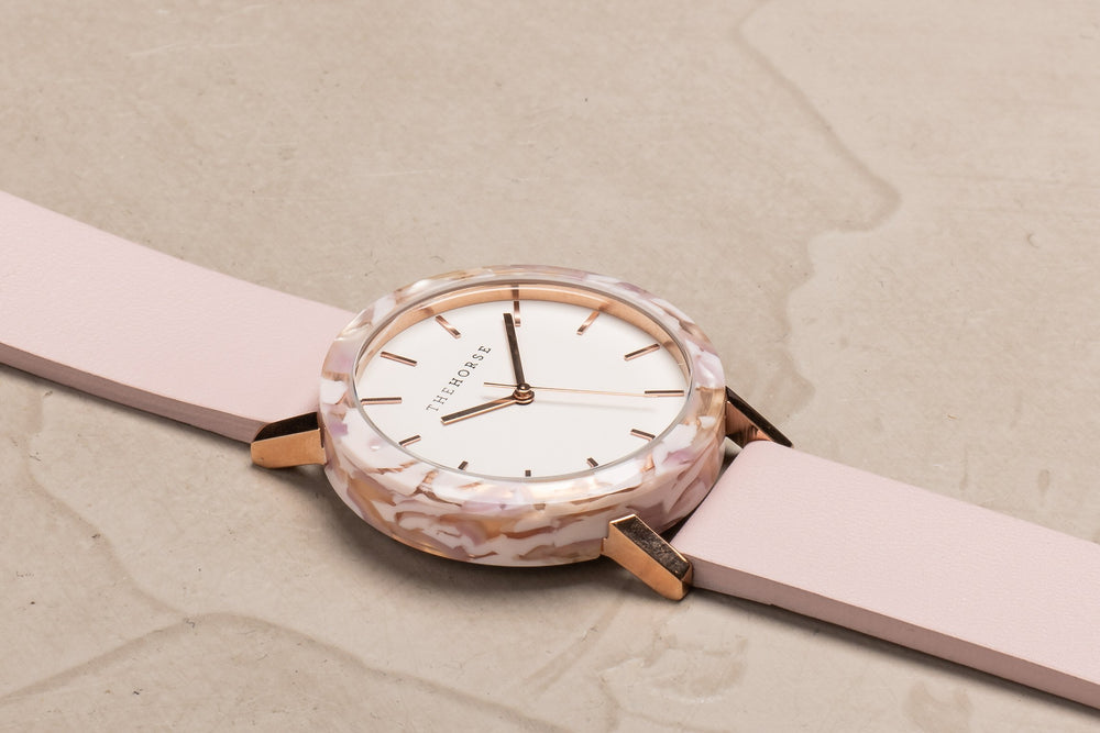 The Horse - The Mini Resin Watch In Pink Nougat Shell / White Dial / Baby Pink Leather Strap