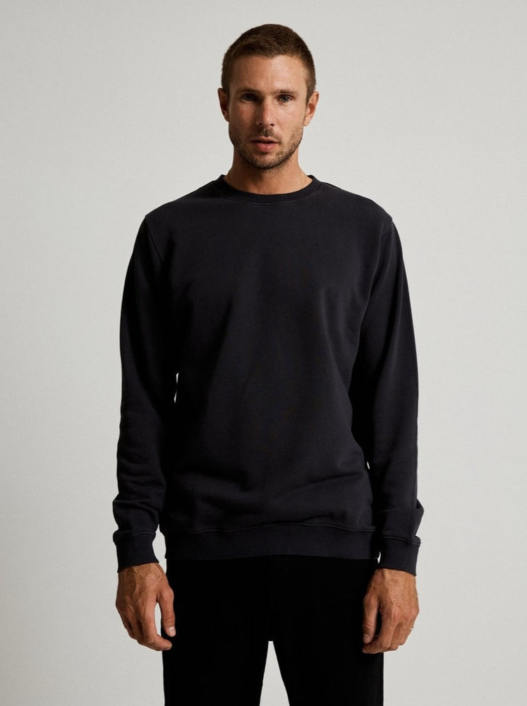 Mr Simple - Fair Trade Crew Neck Fleece in Washed Black