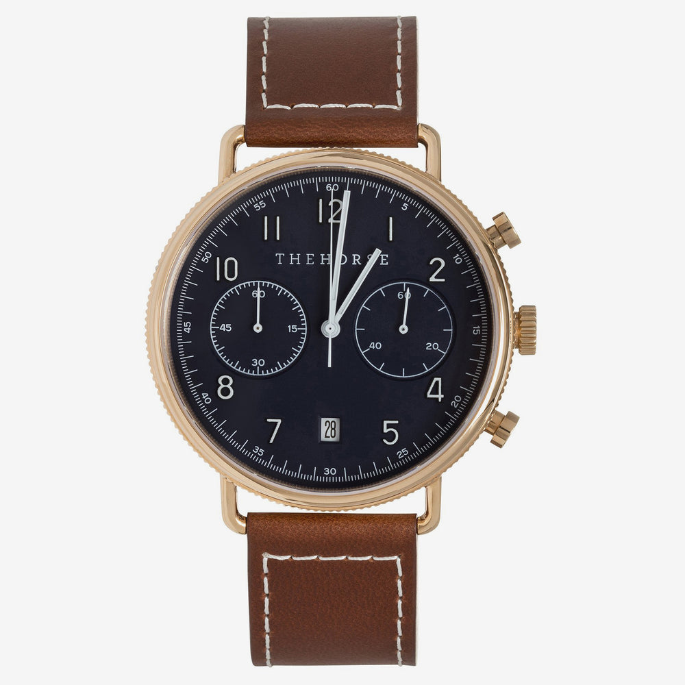 The Horse - The Chronograph Watch Rose Gold/ Blue Dial/ Tan Leather