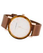 The Resin Watch In Caramel Treacle Case / White Dial / Rose Gold Indexing / Tan Leather Strap