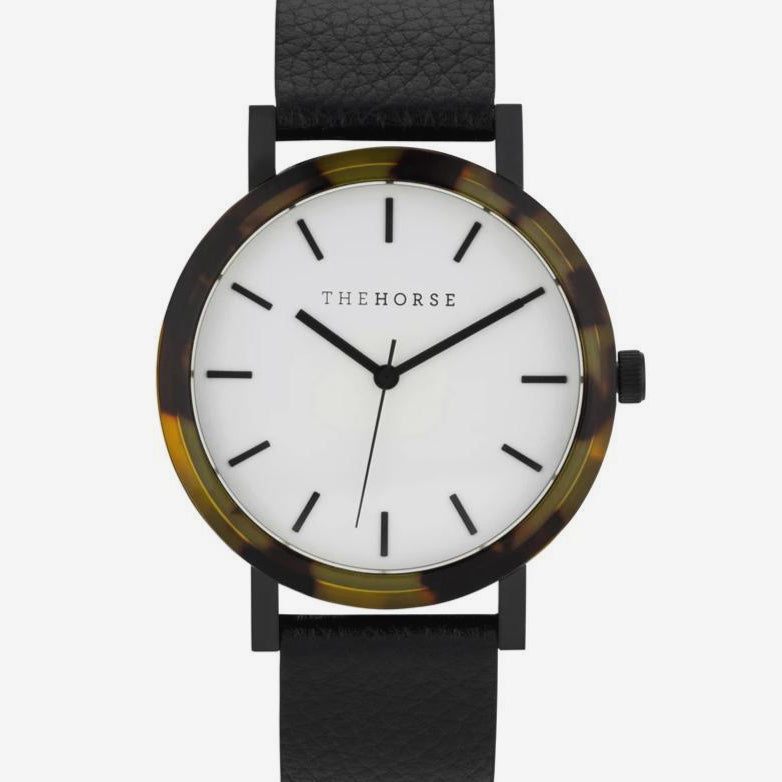 The Horse - The Resin Watch In Tortoise Shell / White Dial / Black Leather Strap