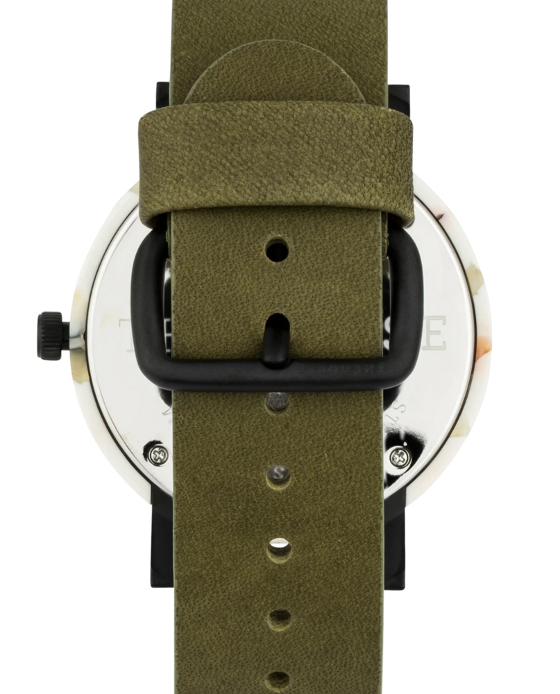 The Horse - The Resin Watch In Nougat Shell / White Dial / Olive Leather Strap