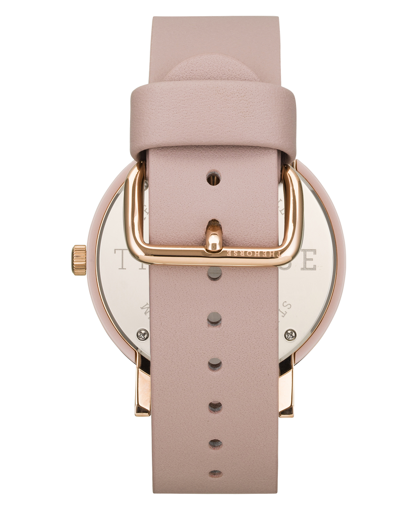The Horse - The Resin Watch In Tortoise Shell Case / White Dial / Rose Gold Indexing / Blush Leather Strap