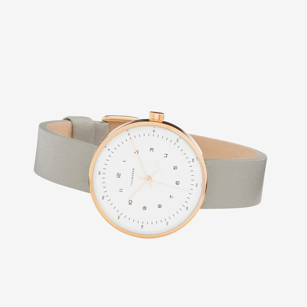 The Horse - Minimal Watch (34mm) Rose Gold/ White Face/ Grey Band