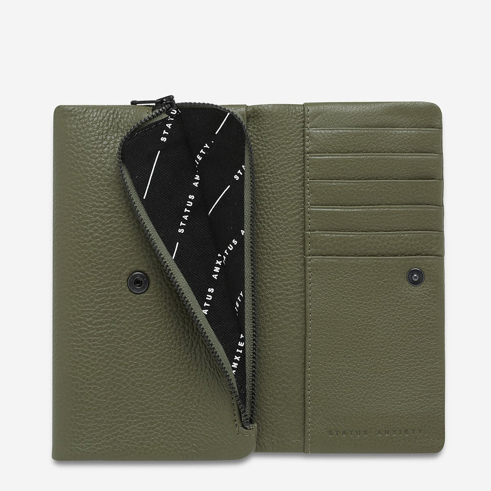 Status Anxiety - Audrey Wallet in Khaki Pebble
