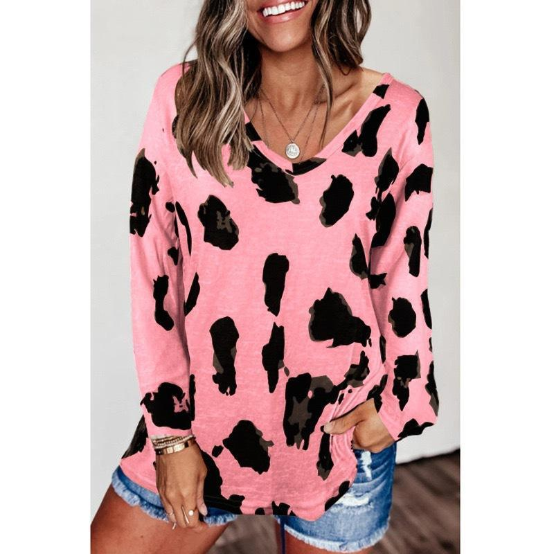 New Leopard Print Long Sleeve Loose Top