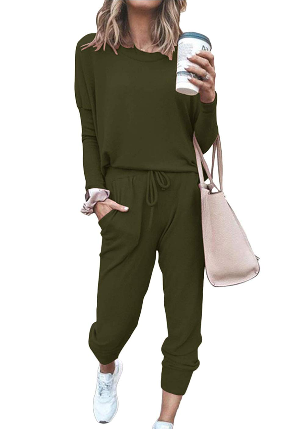 Women's Solid Two Piece Outfit Long Sleeve Crewneck Pullover Tops And Long Pants Tracksuits