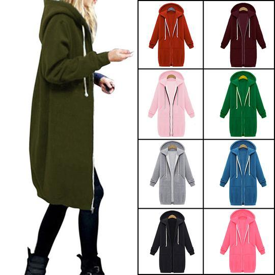 💥50% OFF-Buy 2 Free Shipping💥LONG SLEEVE ZIP UP HOODED HOODIE JACKET OVERCOAT