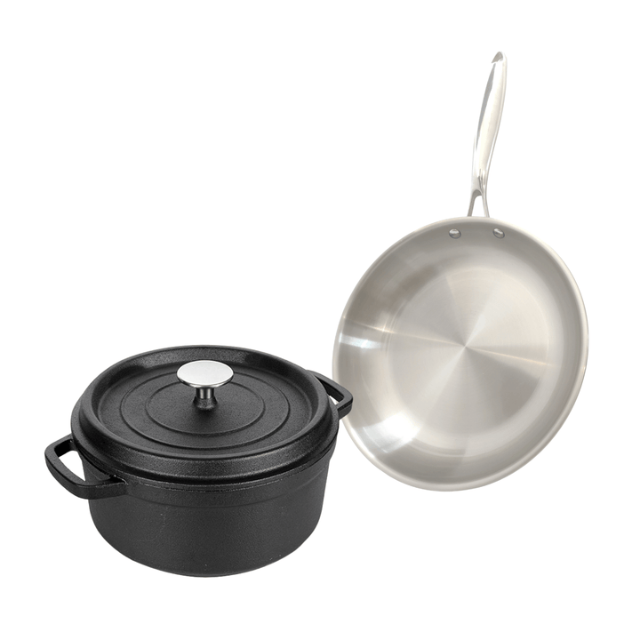 10 Inch Pre seasoned Cast Iron Dutch Oven +3 Ply Stainless Steel Skillet