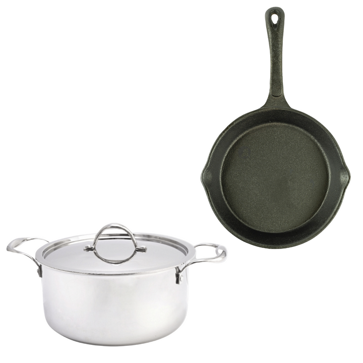 10 Inch Pre seasoned Cast Iron Skillet + 10 Inch Triply Stainless Steel Cooking Pot Combo