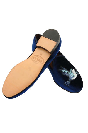 leather sole navy velvet slippers for women