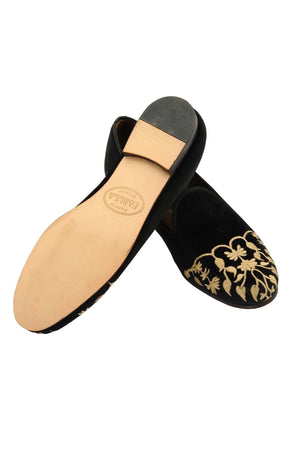 leather sole black velvet slippers with golden embroidery for women