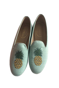 green linen slippers for women with a pineapple embroidery