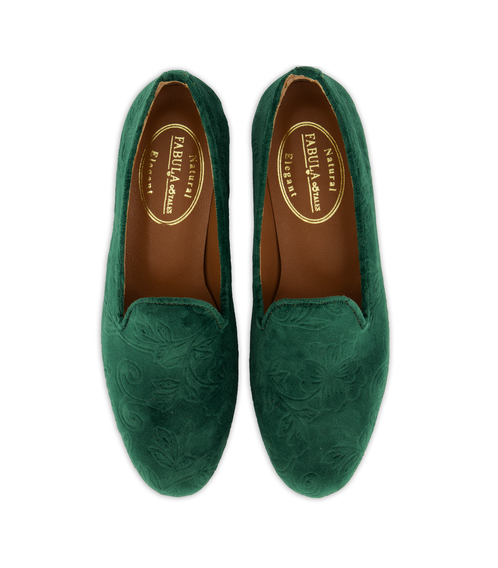 green velvet slippers for woman