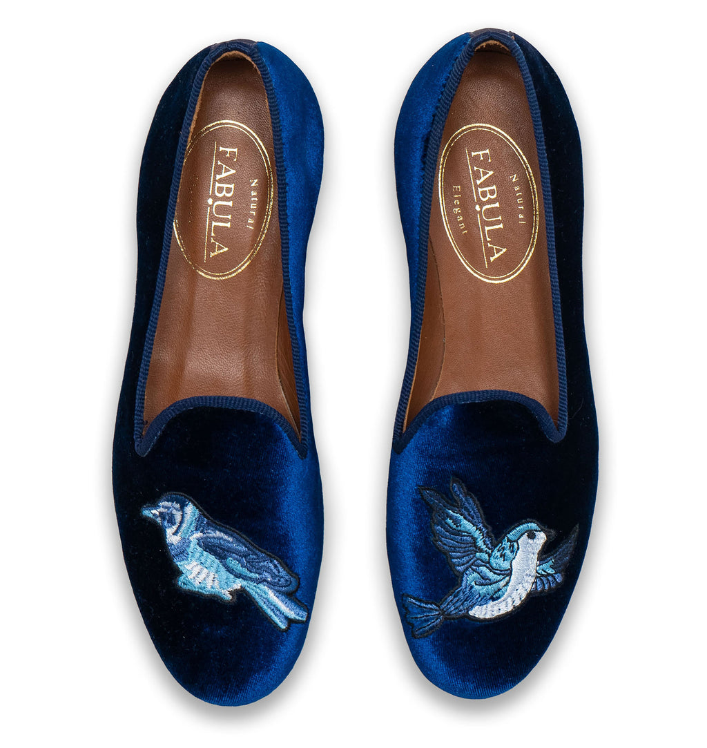 handmade navy velvet slippers with a blue bird embroidery