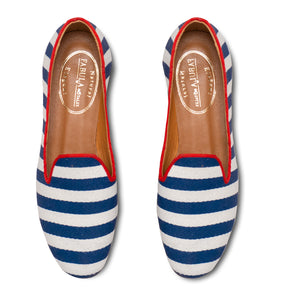 navy white striped linen slippers
